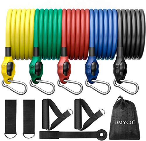 DMYCO Resistance Bands Fitnessbänder Set, 150lbs Expander Tubes Bänder Fitnessbänder mit 5 Widerstandsbänder, Griffe, Türanker und Fußschlaufen für Muskelaufbau Yoga Pilates Physiotherapie Gymnastik