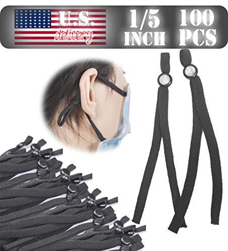 Elastic String for Masks,100pcs Elastic Bands for Sewing DIY Cord with Adjustable Adjuster Buckle (Black)
