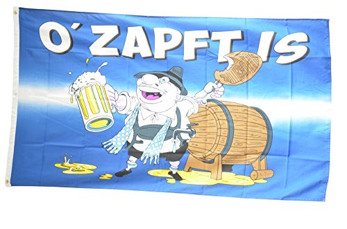 Fahne / Flagge Oktoberfest O' Zapft is + gratis Sticker, Flaggenfritze®