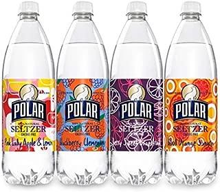 Polar 100% Natural Seltzer 12 x 1L (33.8 Fl oz) - Winter Variety - (Pink Lady Apple & Lemon, Blackberry Clementine, Berry Sweet Grapefruit, Blood Orange Sangria)