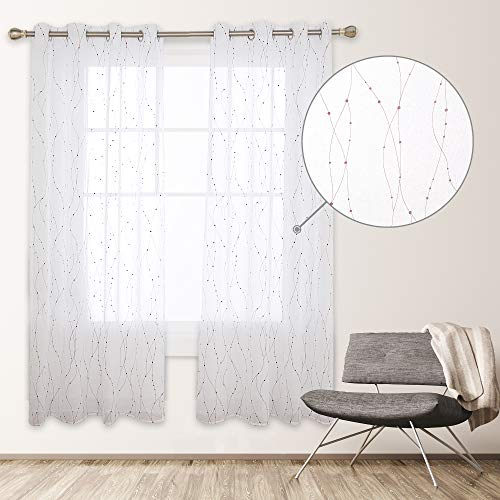 Deconovo Cortinas Visillos Dormitorio Moderno Diseño Hilos Cobre Caliente Decoración Hogar, 100% Poliéster, 135 x 240 cm