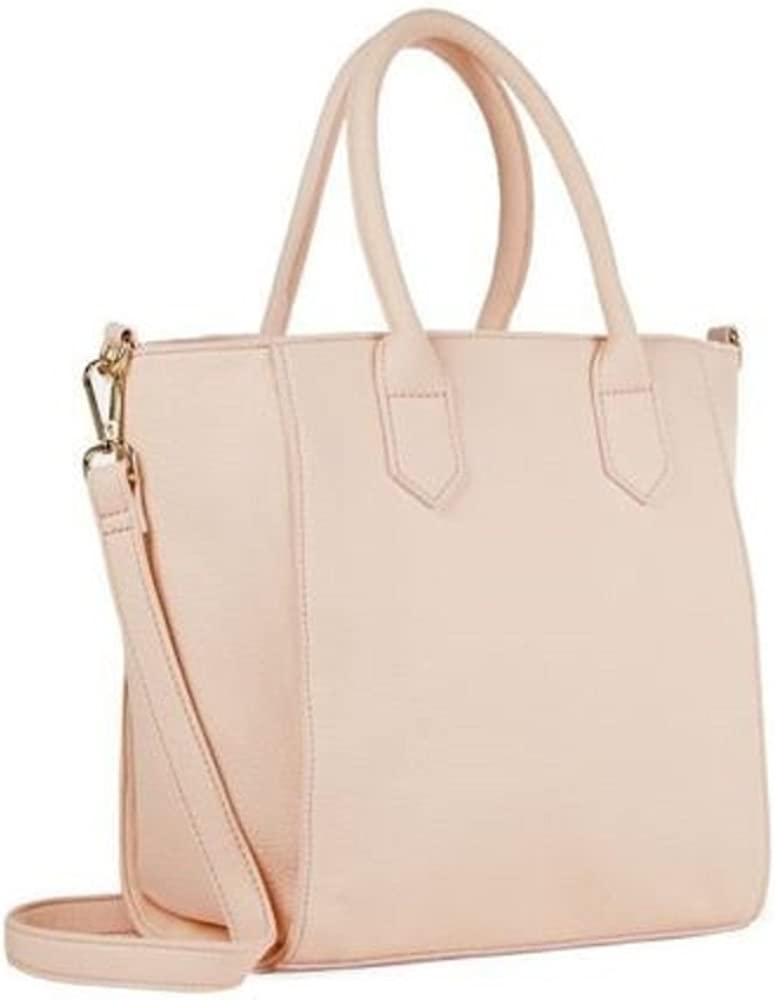 Chic Handbag With Tabbed Handles & Front Buckled Strap - Nude