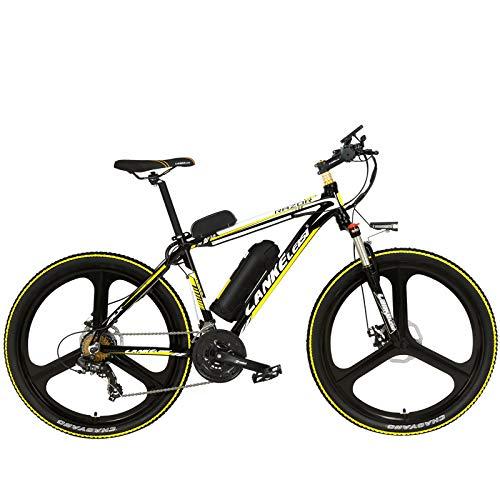 LANKELEISI MX3.8Elite 26 Pollici Mountain Bike, Bici elettrica a 21 velocità 48V, Forcella Ammortizzata con Serratura, Bicicletta Power Assist con Display LCD (Black Yellow, 10Ah)