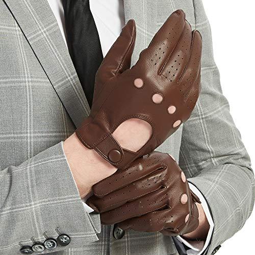 Guantes de conducción de piel para pantalla táctil para hombre, de napa, sin forro, clásico -  Marrón -  9.4 US
