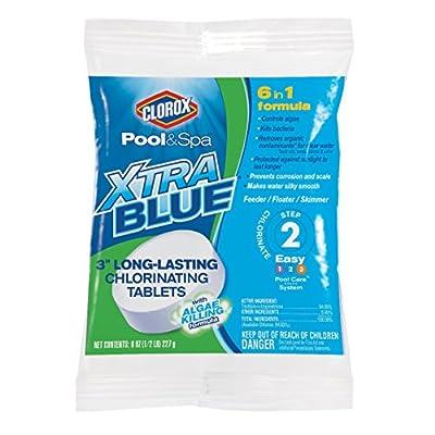 "Clorox Pool&Spa 23000CLX XtraBlue 3"" Long Lasting Chlorinating Tablets, White"
