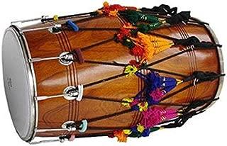 NEW PUNJABI BHANGRA DHOL DRUM~MANGO WOOD~WITH DECORATION PART~HAND MADE INDIAN