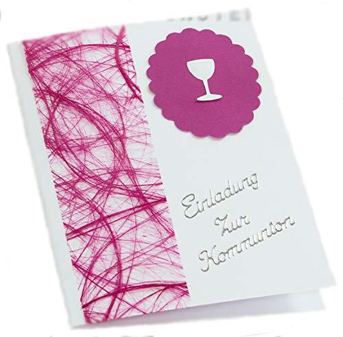 10 x Einladung Einladungskarte Kommunion Einladungen KK018 (pink)