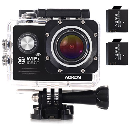 AOKON ASJ70 Action Camera 12MP 1080P HD WiFi 4X Zoom Waterproof Sports Cam 2 Inch LCD Screen, 170 Degree Wide Angle Lens, 98ft Underwater DV Camcorder With 19 Accessories Kits (Black)