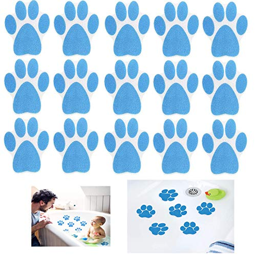 Non Slip Bathtub Stickers 15 Pieces Cartoon Dog Paw Print for Kids Shower Strong Adhesive Appliques Anti-Slip Decals for Tub Stairs Kitchen Shower Room Treads Bath Room Floor Swimming Pool