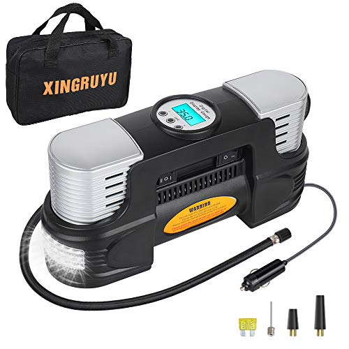 Portable Air Compressor for Car Tires - Dual Cylinder Tire Inflator with Digital Gauge, 150Psi, 12V Air Pump for Car Tires with LED Light, Tire Pump with Overheating Protection, 3 Nozzles &Spare Fuse