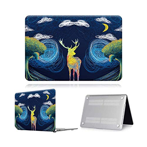 Peach-Girl Case for Macbook Air Pro Retina 11 12 13 15 16 Painting Laptop Cover Case Pro 16 A2141 / Air A2179 A1932-Deer by The Tree-Pro 15 A1398 Retina