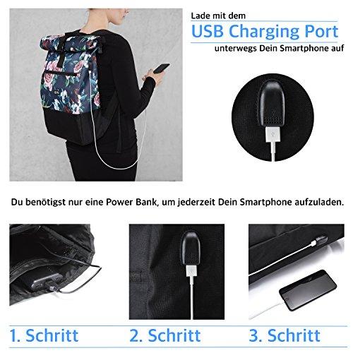 Ela Mo's Rucksack Damen   Schön und Durchdacht   für Uni Reisen Freizeit Job   mit Laptopfach & Anti Diebstahl Tasche   Blumen - 3