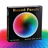 1000 Pcs Round Jigsaw Puzzle, Large Circle Rainbow Jigsaw Puzzle Educational Intellectual Game 1000 Piece Puzzles for Adults, Teen, Children