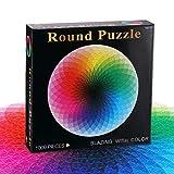 ZONJIE 1000Pcs / Set Rompecabezas para niños/Adultos Adolescentes - Gradient Color Rainbow Large Round Jigsaw Puzzle Difícil y desafiante