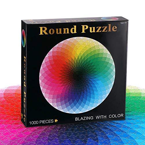 OurLeeme Puzzles, 1000PCS Bunte runde Puzzles für Kinder Erwachsene Fun Rainbow Puzzles