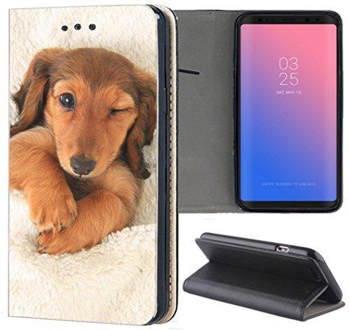 KX-Mobile Samsung Galaxy Grand Prime Hülle - Handyhülle für Samsung Galaxy Grand Prime - Handycover aus Kunstleder Motiv 1329 Dackel Welpe Hund Hundebaby Schutzhülle Smart Klapphülle Case