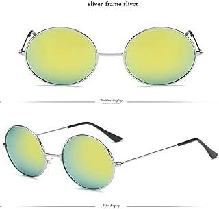 Yangjing-hl Gafas de Sol Redondas de Metal Mujer Candy Colors Classic Retro Rainbow Sun Glasses Hombres