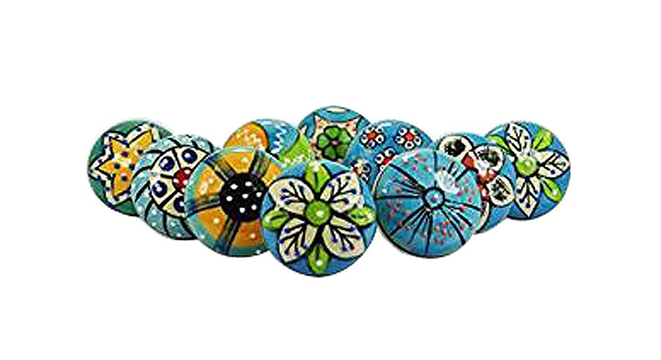 Artncraft 10 Pieces Set of Sky Blue Color Ceramic Knobs Drawer Pulls with Different Design & Chrome Hardware
