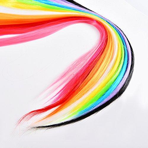 11 Piezas de Extensiones de Pelo de Colores Destacados Piezas de Pelo Recto...