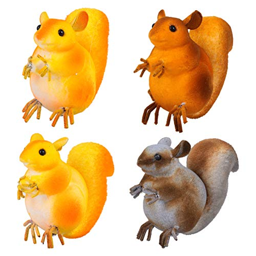 TomaiBaby 4pcs Squirrel Figurine Miniature Animal Ornament Table Decoration Kids Gifts Toys Christmas Halloween Present Random Color