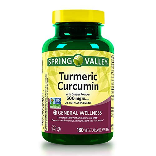 Spring Valley Turmeric Curcumin 500mg with Ginger Powder, General Wellness, 180 Capsules (Pack of 2)