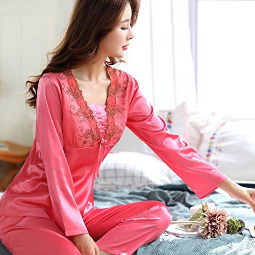 QWKLNRA Conjunto Pijama Seda Mujer,Traje De Pijama De Seda para Damas con Estampado Rosa, Ropa De Hogar De Manga Larga, Ropa Casual/Adecuado para Primavera, Verano, Otoño/Se Puede Usar como Regalo