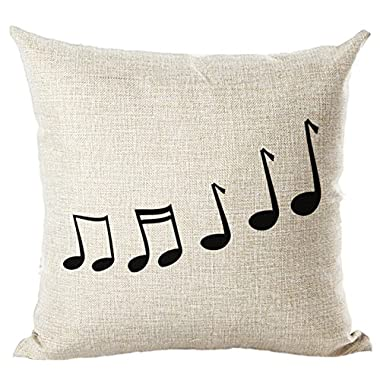 SODIAL(R) Music Series Note Printed Linen Square 45x45cm Home Decor Houseware Throw Pillow Cushion Cover Cojines Pillows #4