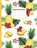 Isometric Notebook: Pineapple Frangipani White Cover Isometric Graph Paper Notebook 200 Pages 8.5 x 11 Inches for 3D Design and Math, Grid Of 1/4 Inch Equilateral Triangles