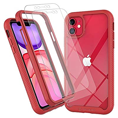 CellEver iPhone 11 Case, Clear Full Body Heavy Duty Protective Case Anti-Slip Full Body Transparent Cover Fits Apple iPhone 11 (2X Glass Screen Protector Included) (6.1 inch, 2019) - Red