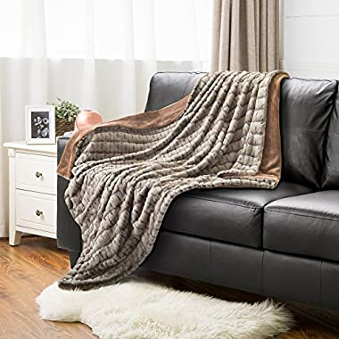 Bedsure Faux Fur Sherpa Throw Blanket 50x60 Brown Camel Rustic Home Decor Bedding Blanket