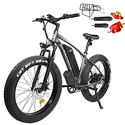 Rattan 48V 750W Electric Bike for Adult 26 inch Electric Mountain Bike 4.0 Ebike Fat Tire 48V 13AH Removable Lithium-ion Battery Fat Tire Beach Snow Ebike Shimano 7-Speed Gear