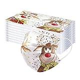 Wossei 50 Stück Kinder Mundschutz mit Weihnachten Motiv - 𝙂𝙚𝙨𝙞𝙘𝙝𝙩𝙨𝙢𝙖𝙨𝙠𝙚𝙣 Einweg 3-lagig 𝙎𝙘𝙝𝙪𝙩𝙯𝙢𝙖𝙨𝙠𝙚 - Kinder Accessory Outdoor Anti-Staub Bandana Loop (Elch)