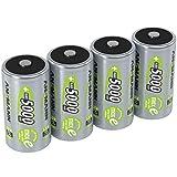 ANSMANN 4x Batterie ricaricabili stilo Mono D - 5000 mAh 1,2 V NiMH - Pila a ricarica veloce - fino a 1000 cicli di ricarica eco-friendly