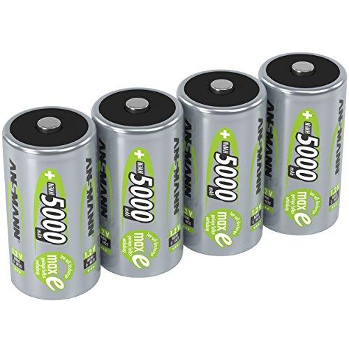 ANSMANN Akku D 5000 mAh NiMH 1,2 V (4 Stück) - Mono D Batterien wiederaufladbar, maxE geringe Selbstentladung für jahrelangen Einsatz