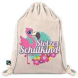 Turnbeutel zur Einschulung/Sportbeutel zum Schulanfang: Stolzes Schulkind mit Flamingo