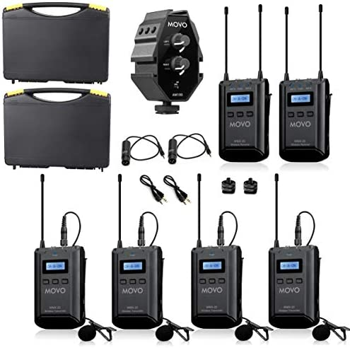 Movo WMX 20 QUATRO 48 Channel UHF Wireless Lavalier Microphone System Bundle with 2 Ch Mixer product image