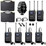 Movo WMX-20-QUATRO 48-Channel UHF Wireless Lavalier Microphone System Bundle with 2-Ch Mixer, 2 Receivers, 4 Transmitters, and 4 Lapel Microphones Compatible with DSLR Cameras (330' ft Audio Range)