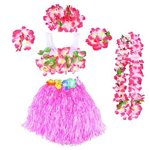 Childs rose herbe jupe hawaïenne hula girl Tropical Beach Party robe de fantaisie