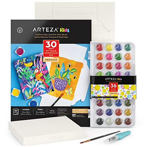 Arteza Kids Watercolor Painting Art Set, Watercolor Paint 36 and Foldable Canvas Paper Bundle, DIY Kit, Art Supplies for Kids and Adults