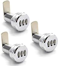 (3 Pack) Combination Cam Lock Security Locks Bright Chrome Zinc Alloy Password Coded Lock for Safety of Box Cabinet Drawer (30.5mm)