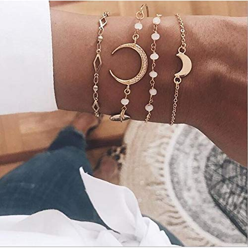 KUANGLANG Bohemian Moon Bracelets Women Charming Shell Cross Elephant Crown Leaf Bead Bangle Jewelry Gift