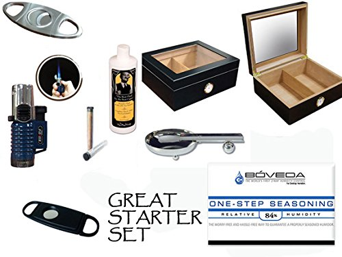 50 Count Cigars Glasstop Black Humidor Cutters Lighter Cigar Caddy Gift Set & Calibration Kit Ashtray