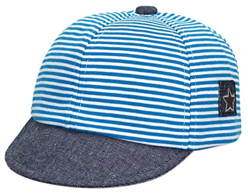 GEMVIE Baby Sun Hat Boy Summer Beach Cotton Girl Baseball Hats with Brim,Navy Striped, 6-18Months,for Vacation/Outside (Blue)