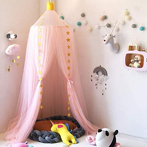 Bed Canopy for Girls, Dix-Rainbow Yarn Mesh Pink Bed Canopy Hanging Curtain Net for Children Baby Game House Round Dome Nursery Decor Boys Girls Play Reading Tent, Height 240cm/94.5in - Pink