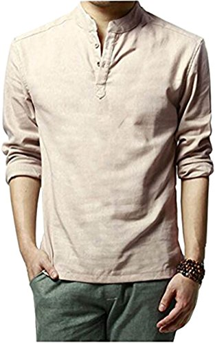 HOEREV Marke Men Casual Langarm-Leinen Shirts Strand-Hemden- Gr. M Brust 94-98cm DE48, Farbe: Beige