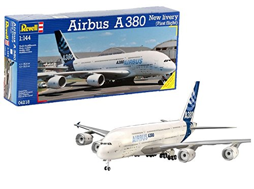 "Revell Modellbausatz Flugzeug 1:144 - Airbus A380 Design New livery ""First Flight"" im Maßstab 1:144, Level 5, originalgetreue Nachbildung mit vielen Details, Zivilflugzeug, Passagierflugzeug, 04218"