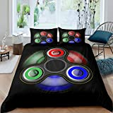 Cartoon Fidget Spinner Printed Duvet Cover SetsBlack Microfiber Warmly Comforter Sets King Ultra Soft Polyester 3 Pieces Bedding Sets(1 Duvet Cover 2 Pillow Cases)
