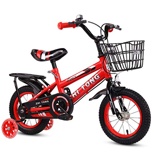ZKHD Children's Bicycles with Back Seats, Male and Female Baby Bicycles, Children's Bicycles, High-Carbon Steel Frame, Four Sizes to Choose from,Red,14 inches
