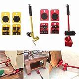HHY-X 5 pz/Set Mobili in Movimento di Trasporto Set 4 Mover Rullo + 1 Ruota Bar Mobili di Trasporto Sollevatore di Uso Domestico A Mano Tool Set,Giallo