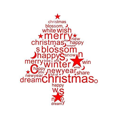 Weihnachtsbrief Wandaufkleber Weihnachtsshop Glasfenster Tür Dekoration Aufkleber Rot Tattoo Wandkunst Aufkleber Dekor